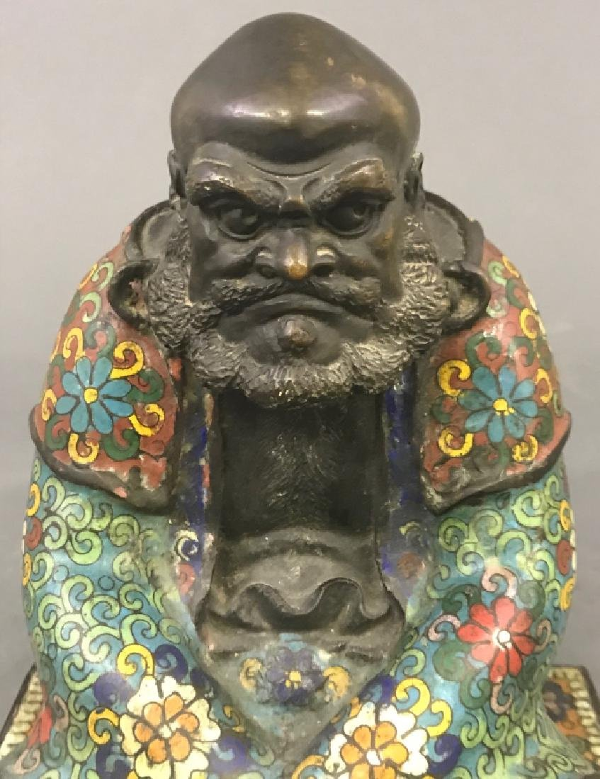 Chinese Champlevé Bronze Statue - 3