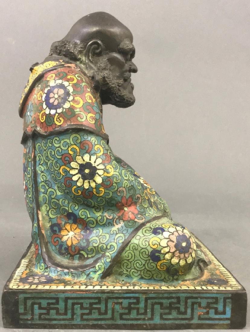 Chinese Champlevé Bronze Statue - 5