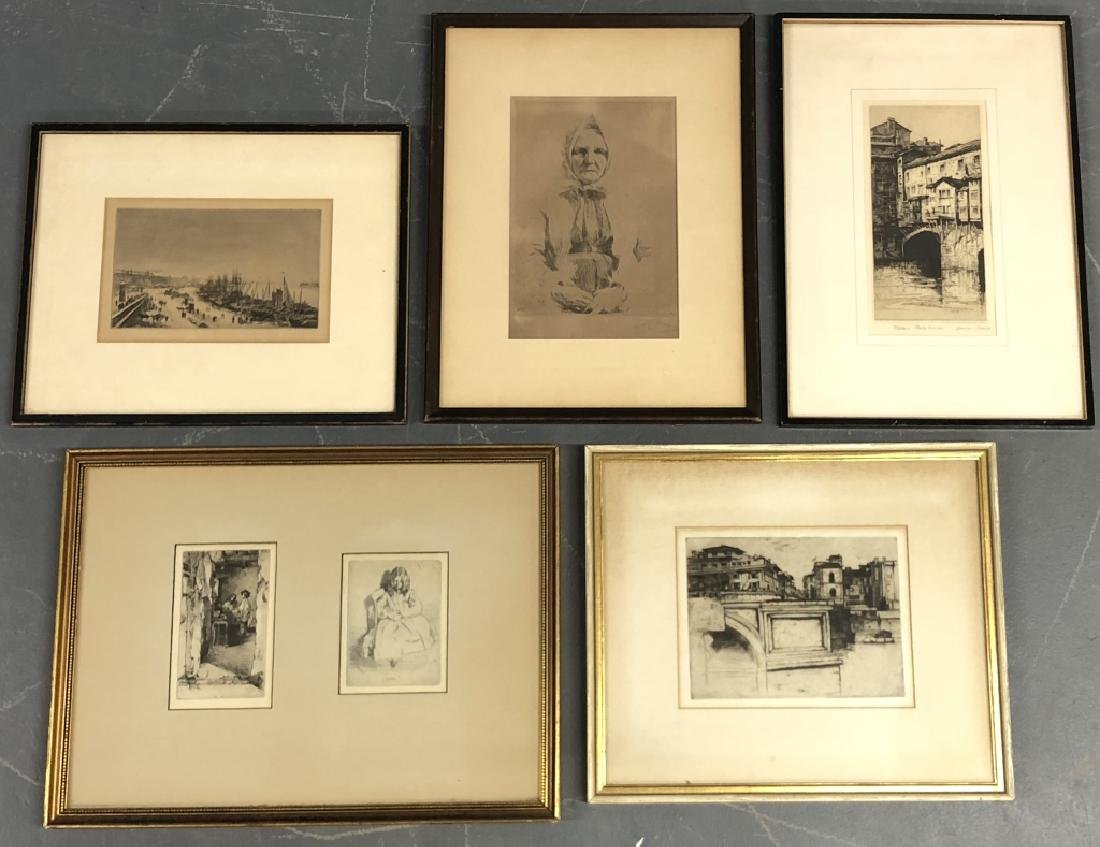 Five Framed and Matted Engravings
