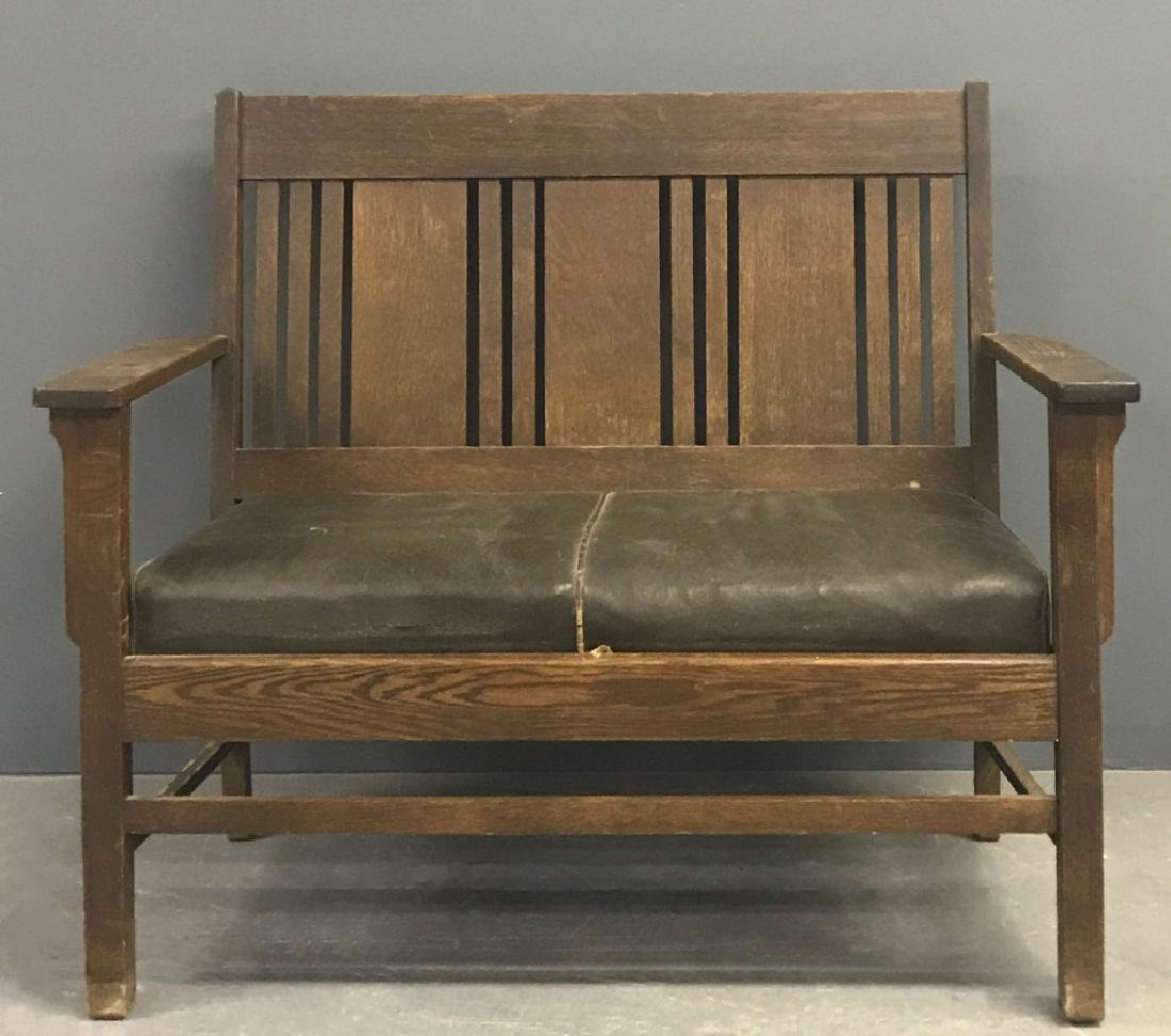 Arts & Crafts Mission Oak Settee