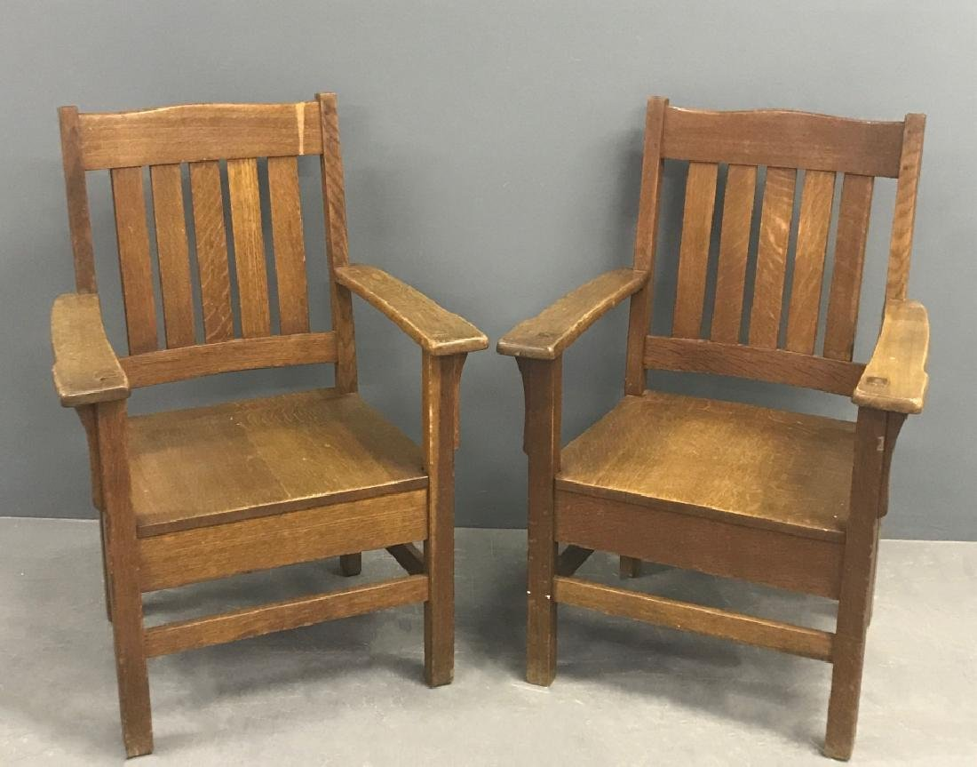 Pair of Arts & Crafts Mission Oak Armchairs