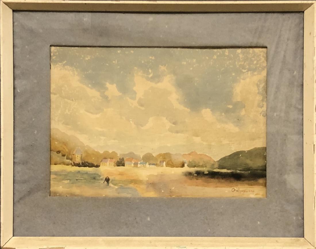 """C. F. Woodward Watercolor """"Low Tide"""""""