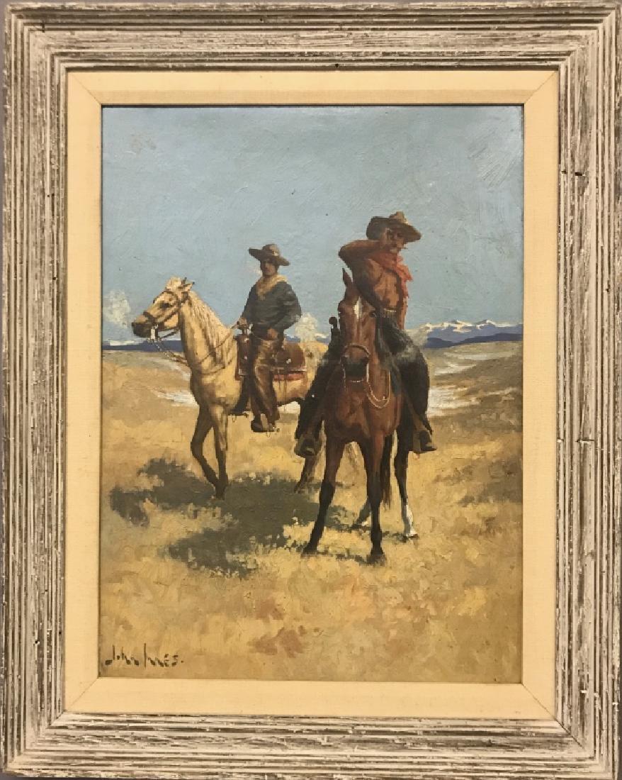 John Innes Oil on Board of Cowboys