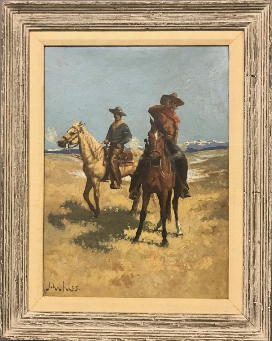 John Innes Oil on Board of Cowboys