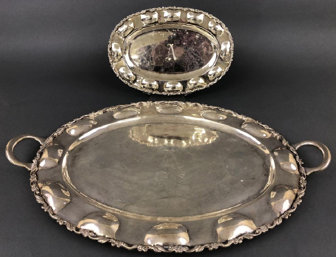 Two Mexican Sterling Silver Trays