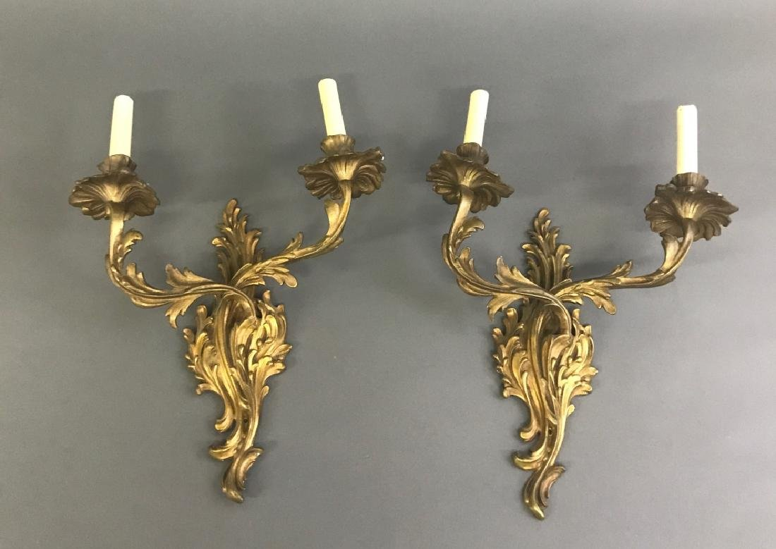 Pair of French Gilt Brass Hall Sconces