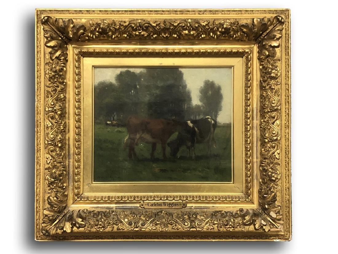 Carleton Wiggins Oil on Canvas of Cows