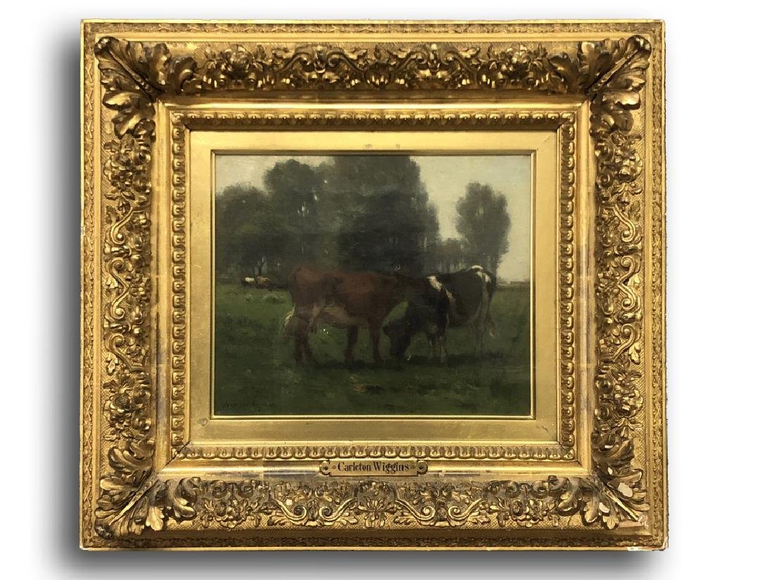 Carleton Wiggins Oil on Canvas of Cows