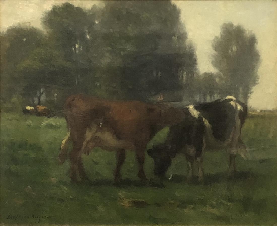 Carleton Wiggins Oil on Canvas of Cows - 2