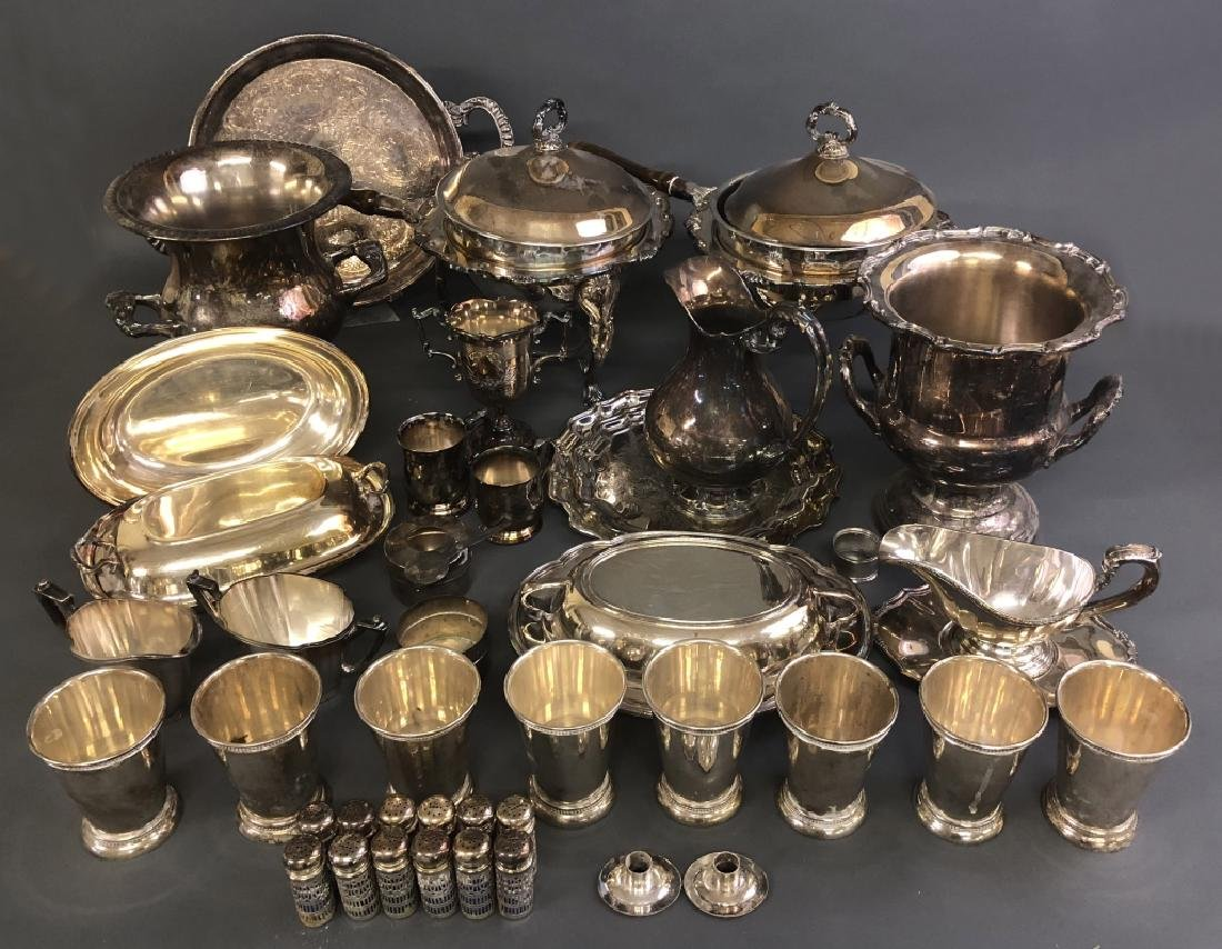 Large Lot of Silverplate Tableware