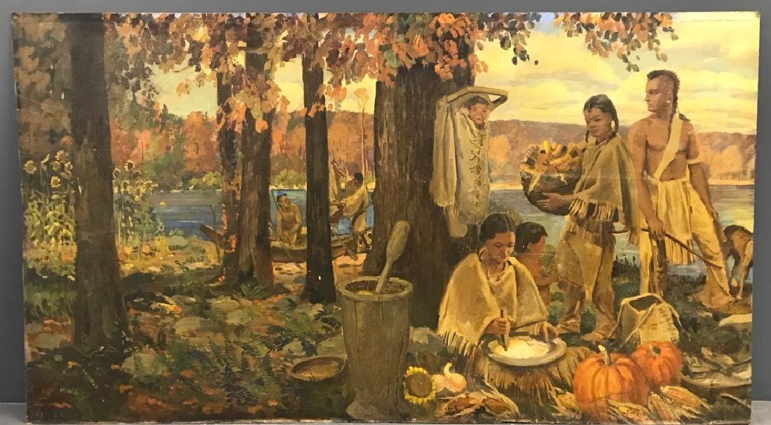 John R. Peirce Oil on Masonite of Lenni Lenape