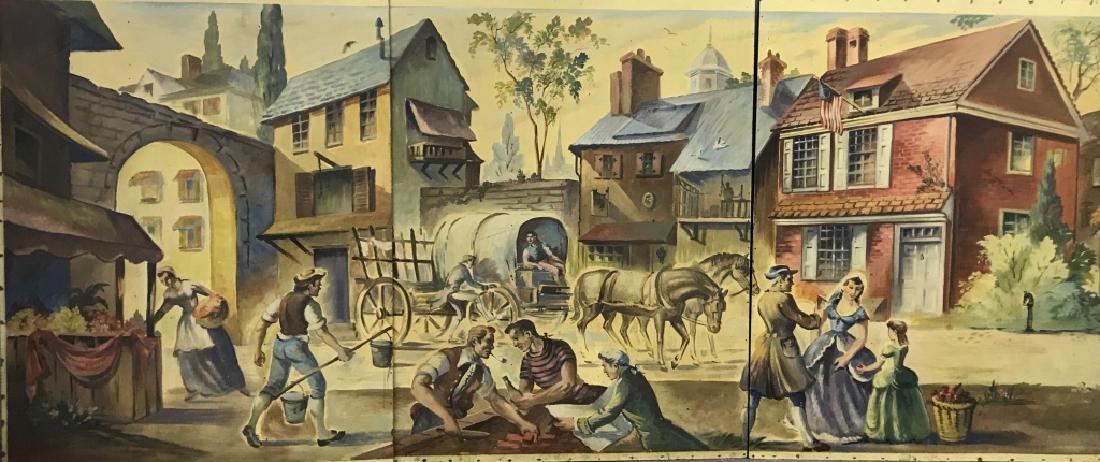 Willard Borow Oil on Masonite Five-Panel Mural