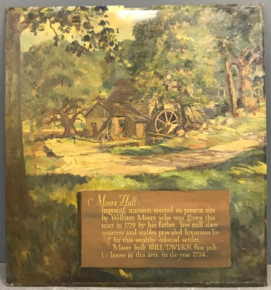 John R. Peirce Oil on Masonite of Sawmill w/ Verse