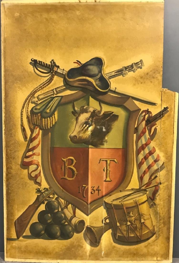 Willard Borow Oil on Masonite Bull Tavern Crest