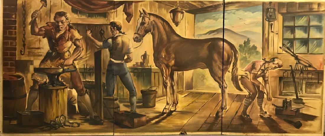 Willard Borow Oil on Masonite 3-Panel Mural