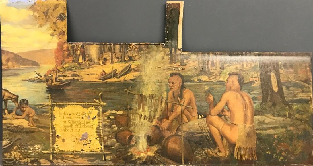 John R. Peirce Oil on Canvas Mural Lenni Lenape