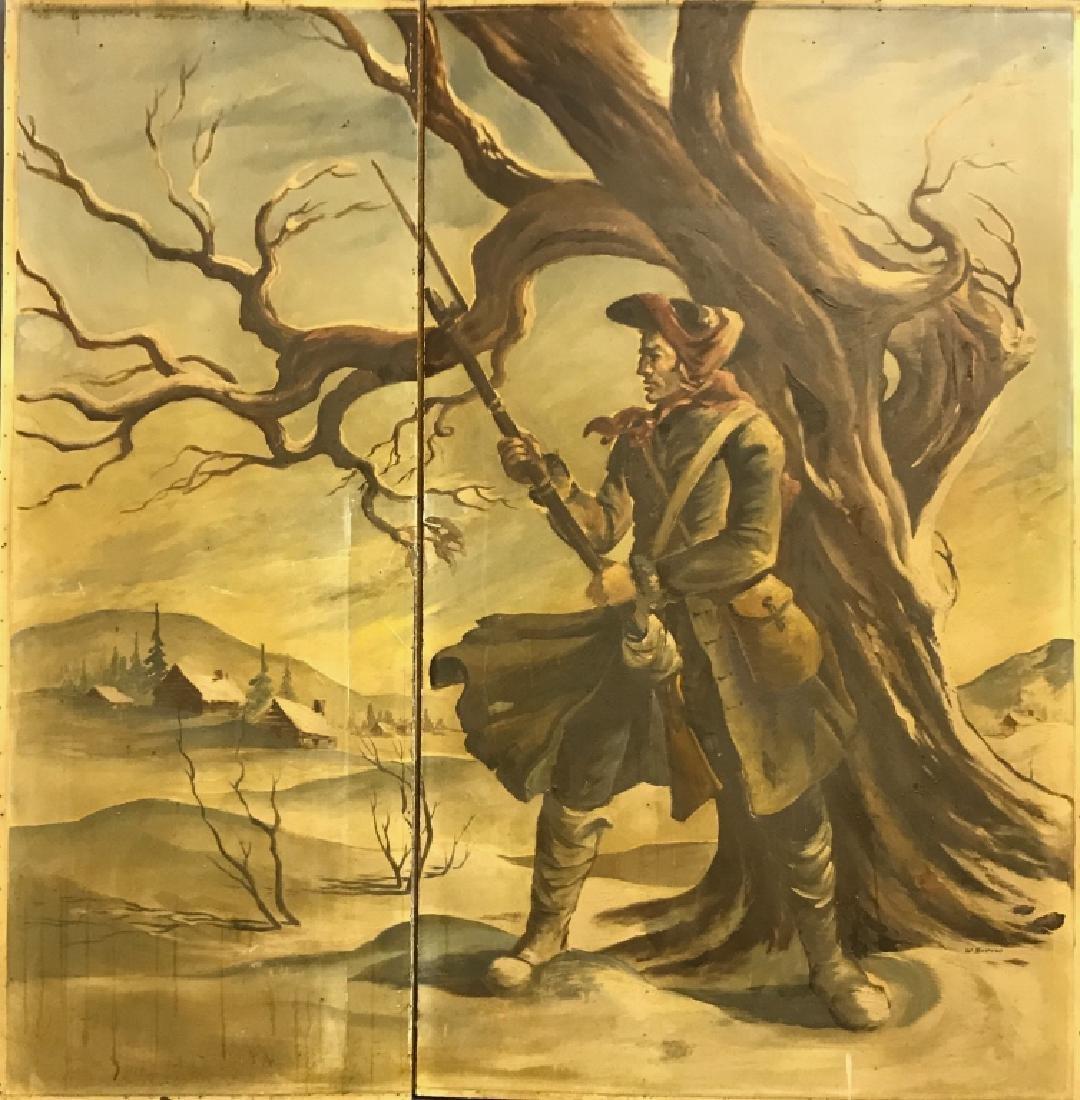 Willard Borow 2-Panel Oil on Masonite Soldier