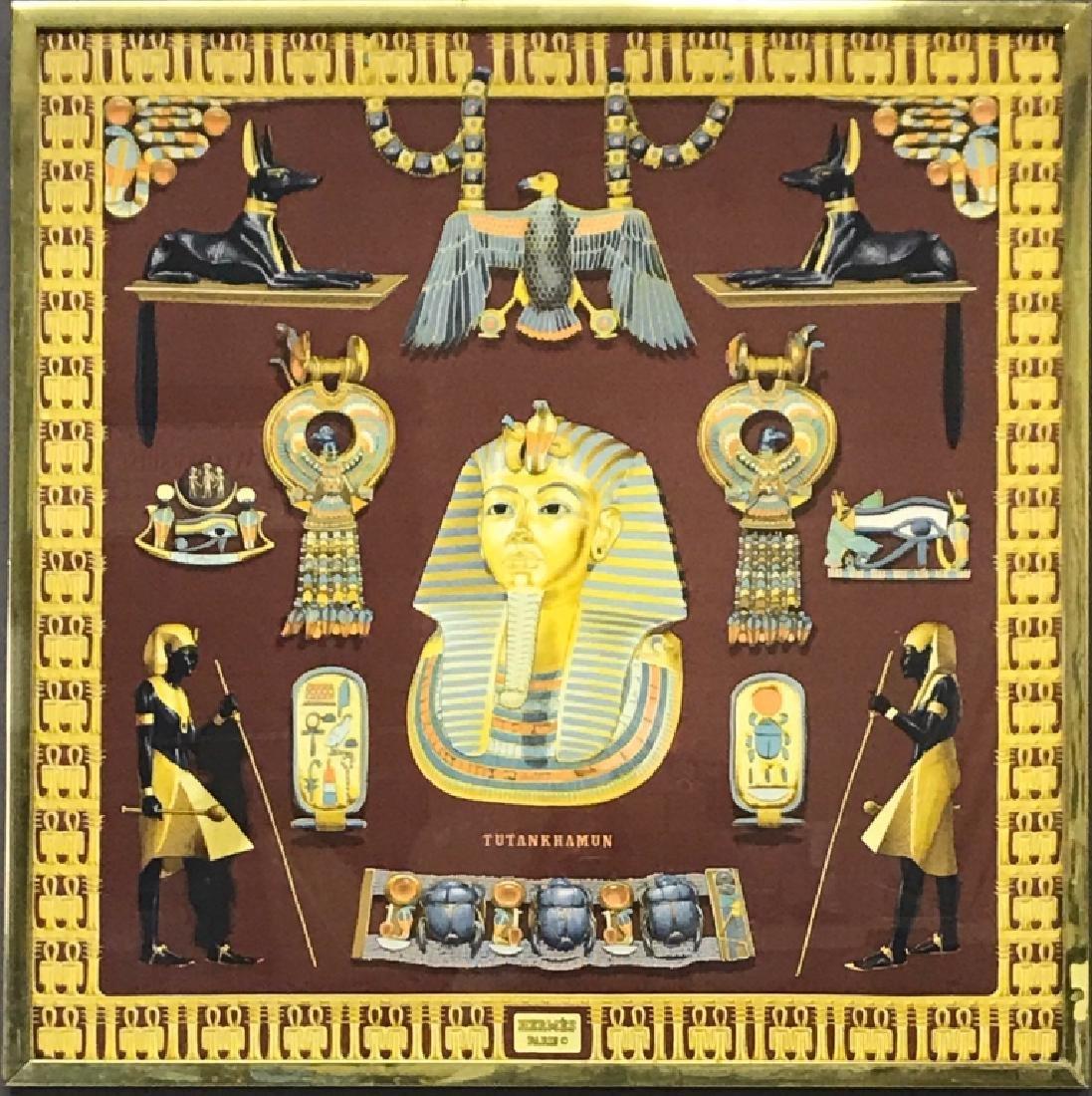 Framed French Hermes Egyptian Scarf
