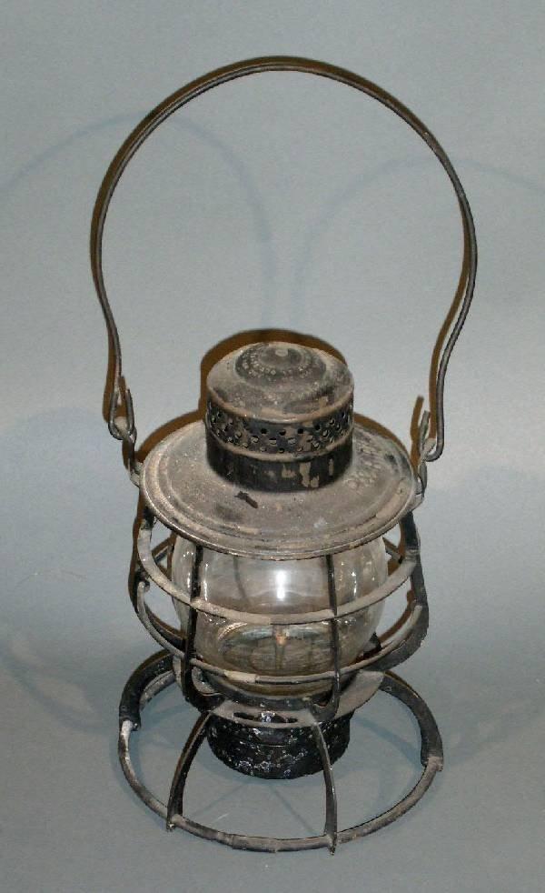 "1: Railroad lantern, Armspear, P&RRY. 10.5""h., 6.5"" dia"