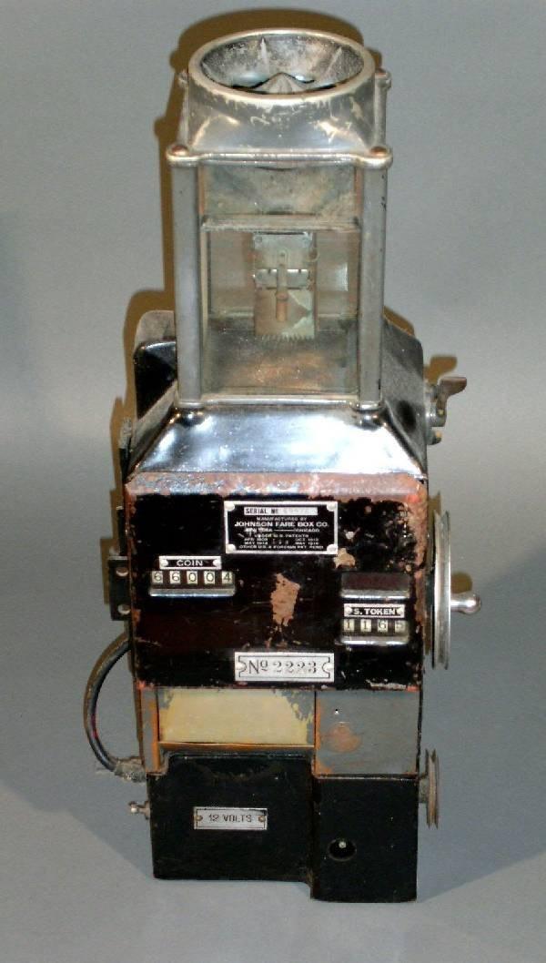 """2: Fare box, c.1950, Johnson Fare Box Co. 24""""h."""