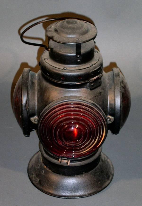 "4: Railroad marker light, electrified. 14.5""/20""h., 10"""