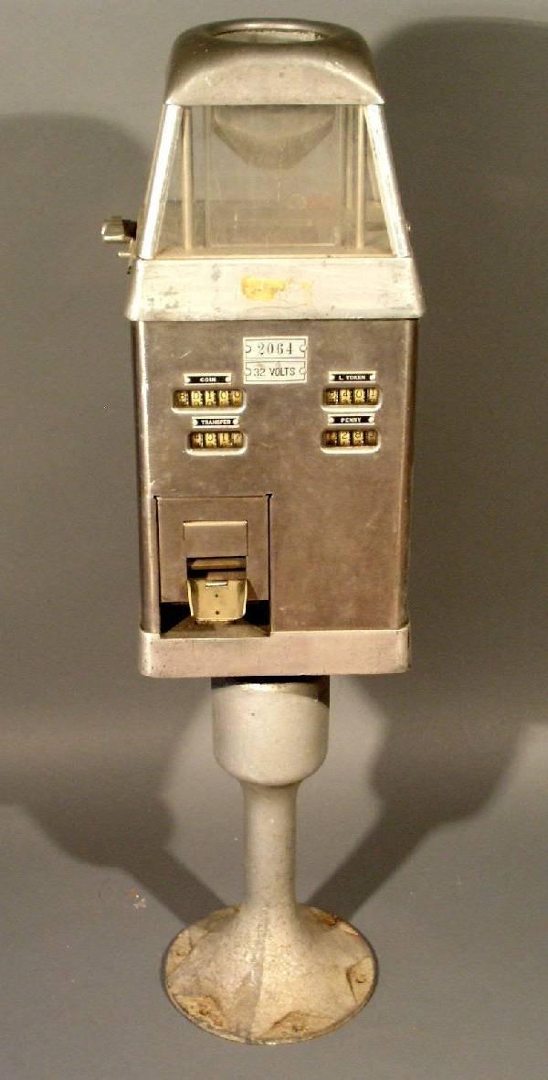"""9: Johnson fare box. 38""""h.x9.25""""w.x7.5""""d."""