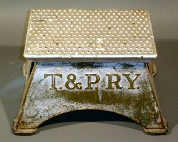 "19: Aluminum train stepstool- ""T. &P.RY."" (Texas & Paci"
