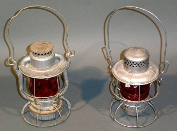 21: Two railroad lanterns- Dietz, RDG. Co. on globe 10.
