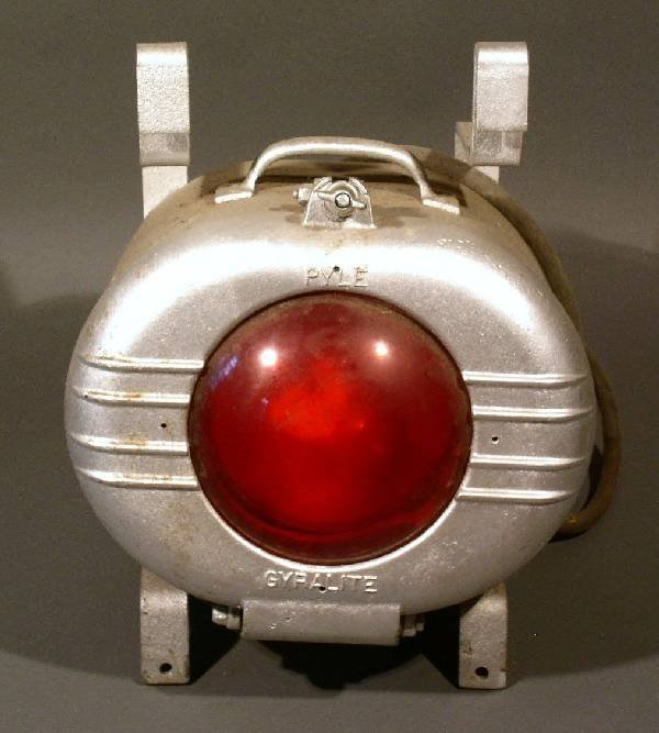 """22: Mars caboose light by Pyle, marked """"Gyralite"""". 17""""h"""