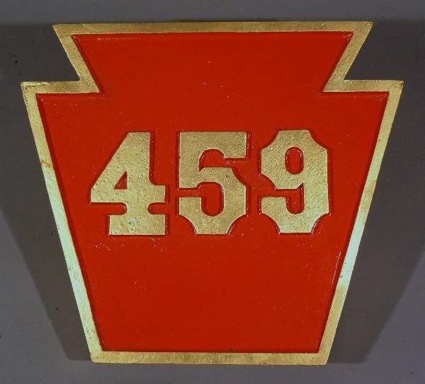 """149: PRR G5 locomotive number plate #459. 17.5""""x19"""""""