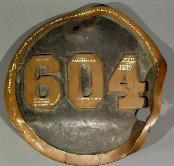267: Locomotive plate from engine 604, built in 1897,