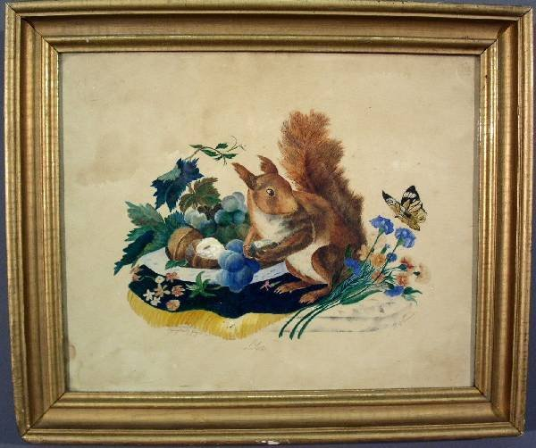 """334: Watercolor painting of a squirrel signed """"R.B. T"""