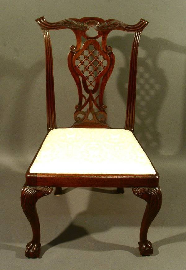 """336:  Anglo/Irish Chippendale mahogany side chair. 38"""""""
