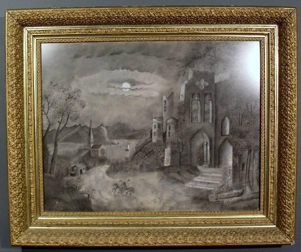 337: Sandpaper drawing of moonlit castle ruins, horse