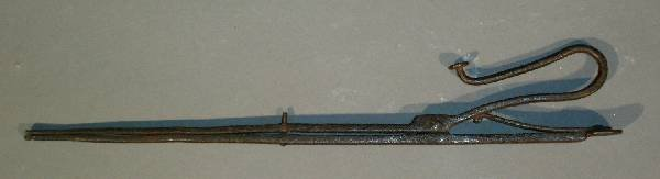 """339: Pair of 18th c. wrought iron ember tongs. 17""""l."""