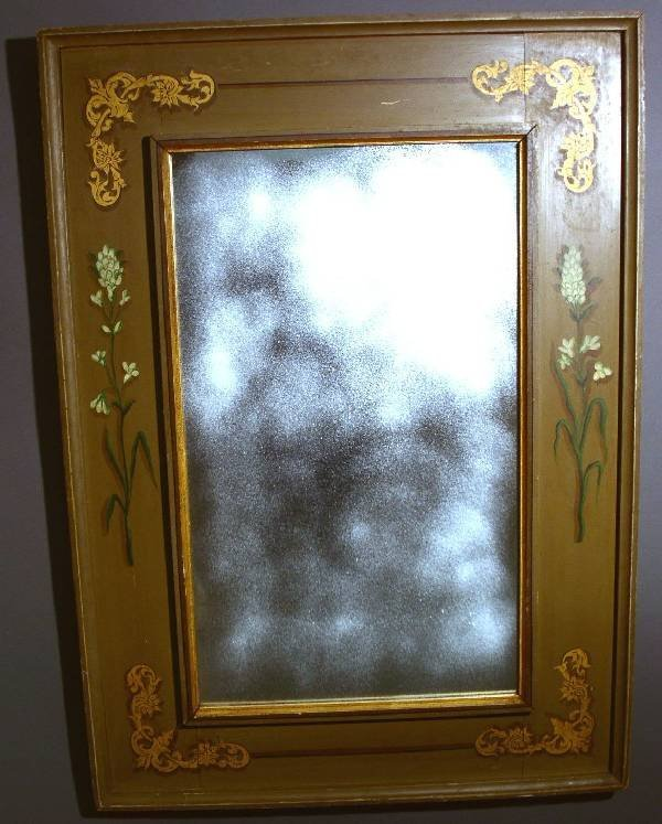 340: Mirror with 19th/20th c. paint decorated frame.