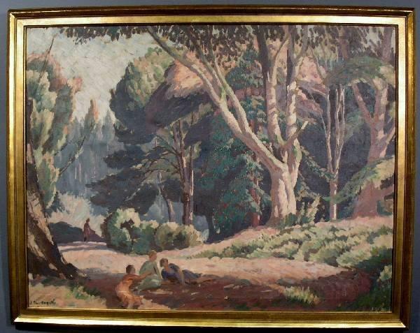 "344: Large oil on canvas landscape painting signed ""J"