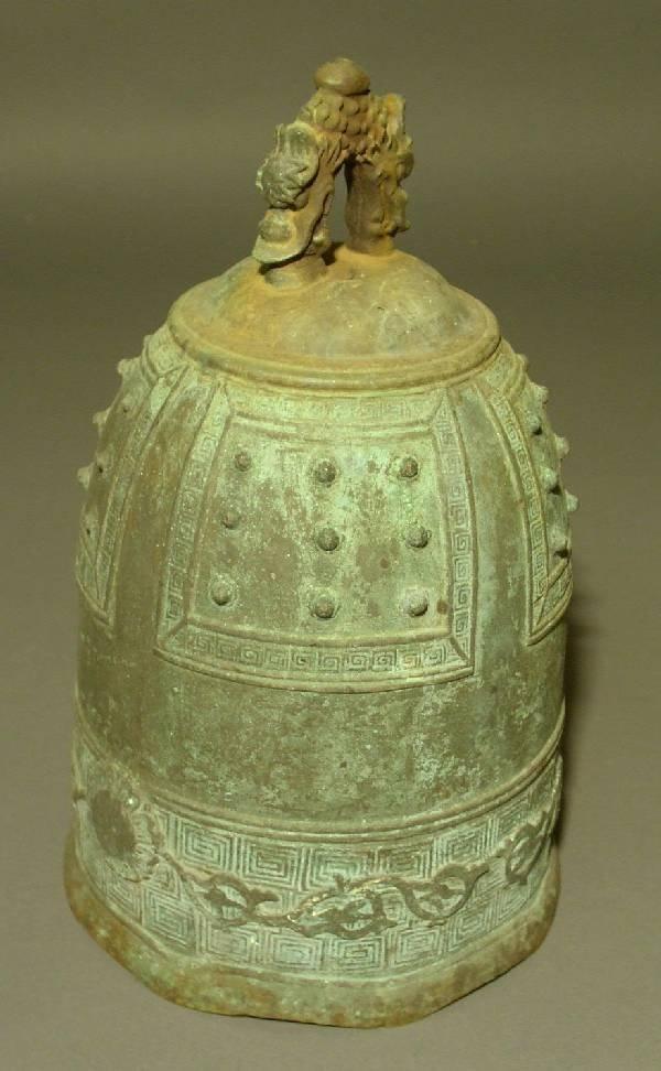 "347: Chinese bronze bell. 11""h., base- 6.25""diam."