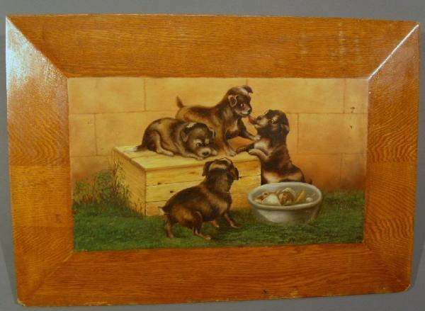 447: Oil on oak board painting of puppies at play. 14