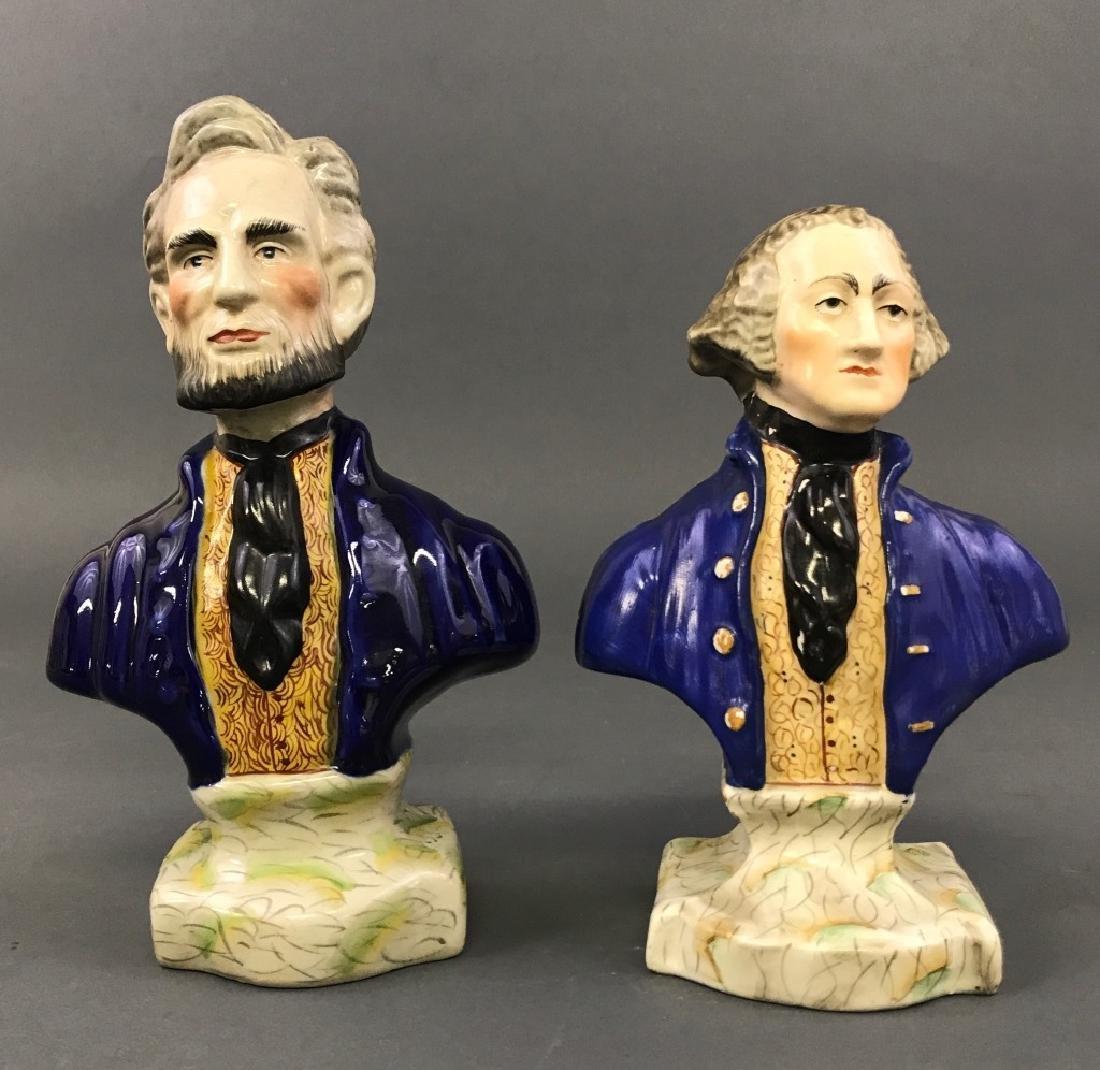 Staffordshire Busts of Washington & Lincoln