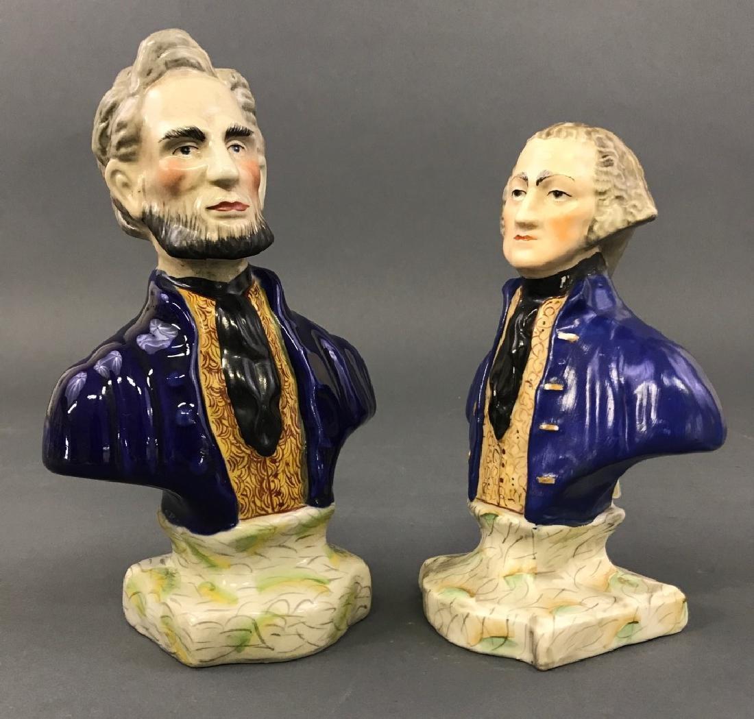 Staffordshire Busts of Washington & Lincoln - 2