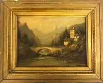 Oil on Canvas of an Alpine Landscape