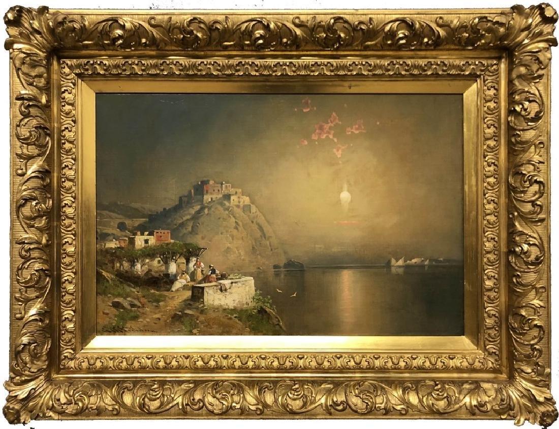 G.W. Nicholson Oil on Canvas Italian Coastal Scene