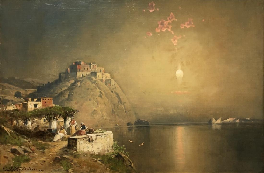 G.W. Nicholson Oil on Canvas Italian Coastal Scene - 2