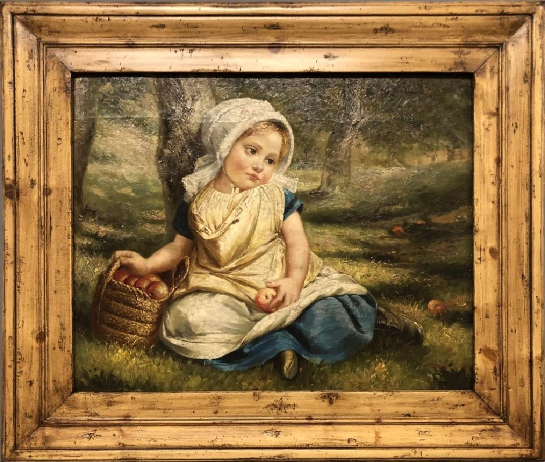 Oil on Canvas of a Girl with Apples