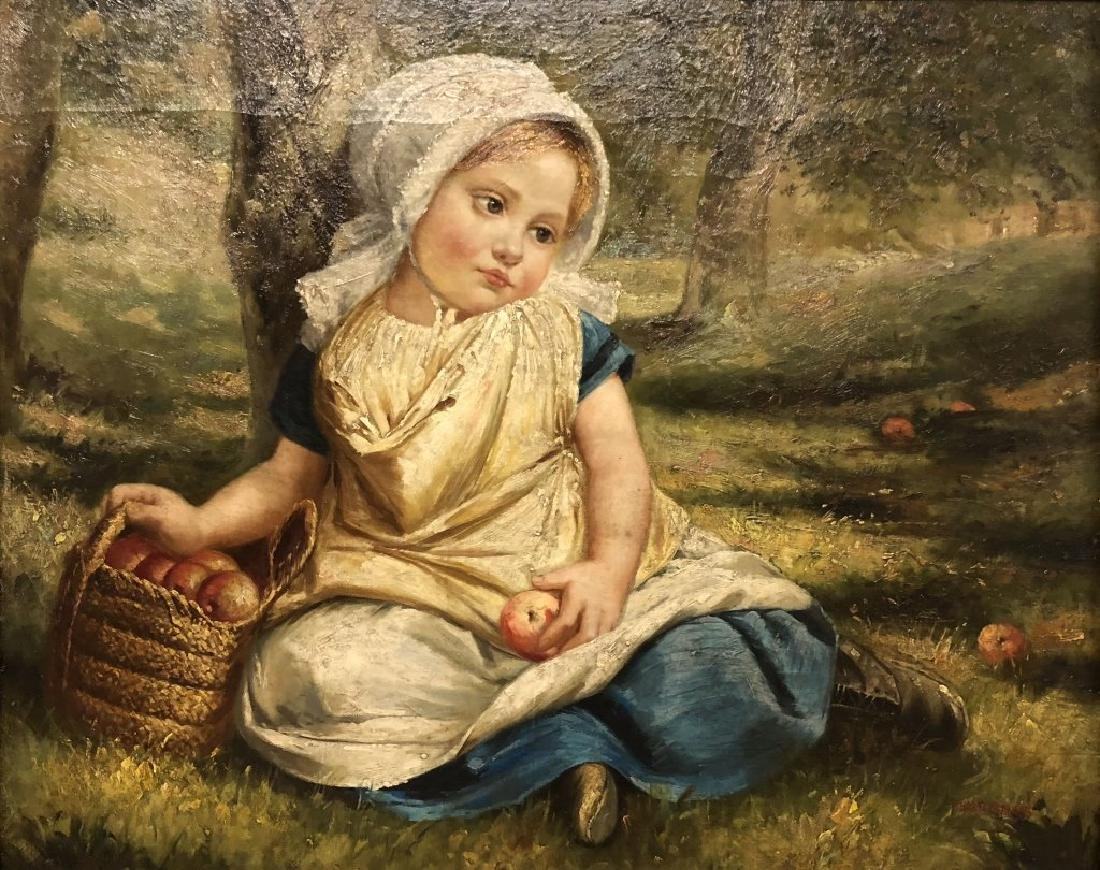Oil on Canvas of a Girl with Apples - 2