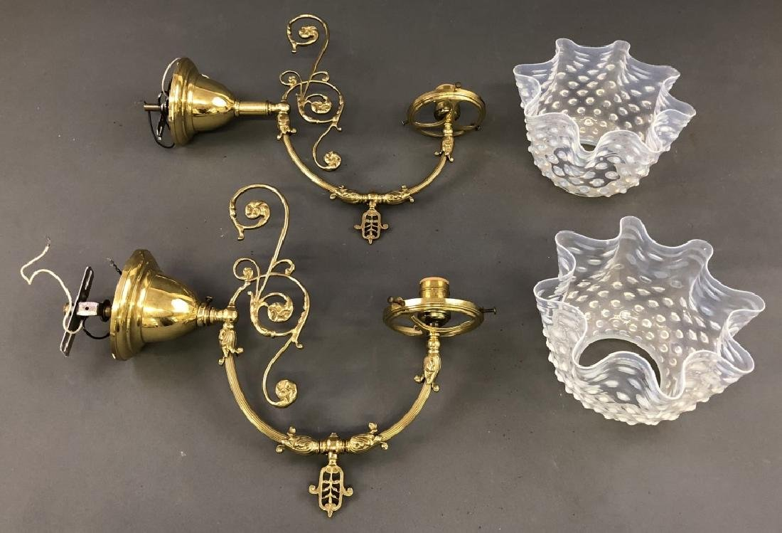 Pair of Victorian Style Brass Sconces