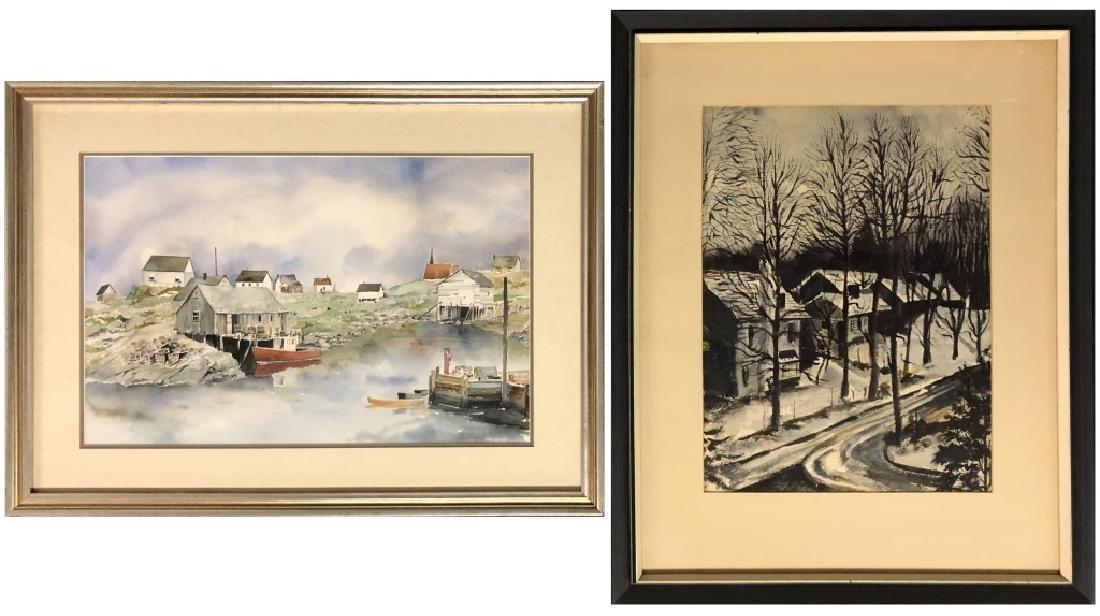 Watercolor Harbor Scene & Snow Scene with Houses