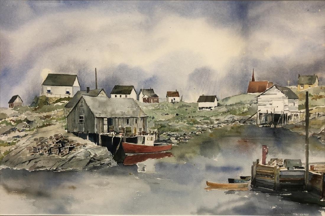 Watercolor Harbor Scene & Snow Scene with Houses - 2