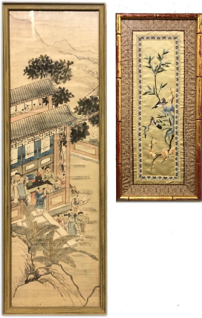 Chinese Painting on Silk & Silkwork of Birds